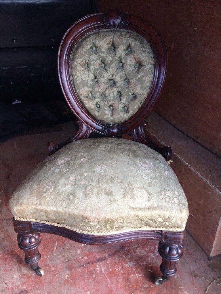 Antique Victorian Walnut Button Back Nursing Chair