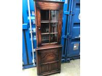 Oak corner display cabinet with FREE DELIVERY PLYMOUTH AREA