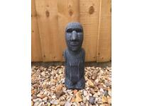 "New small concrete garden Easter island head 11"" tall"