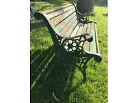 Garden Bench with Vintage Cast Iron Ends