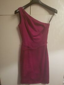 One shoulder fuschia pink Warehouse dress size 8