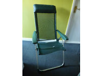Lightweight aluminium folding and reclining chair with padded head rest