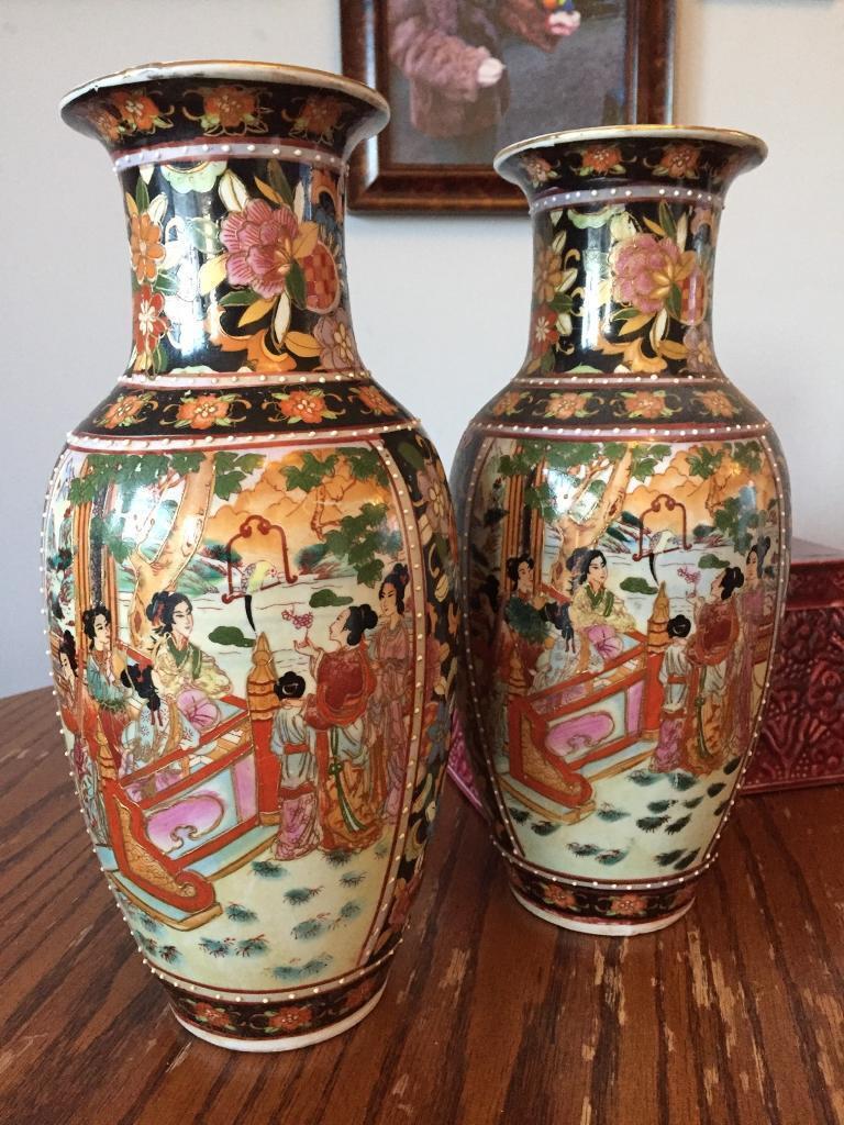Pair of vintage decorative vases vase antique asian oriental pair of vintage decorative vases vase antique asian oriental chinese painted art floral reviewsmspy