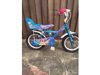 "Can deliver Girls 14"" Halfords Apollo pompom bike bicycle stabilisers doll's seat vgc cost £100 new"