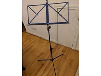 K&M metal fold-away music stand, blue (as new)