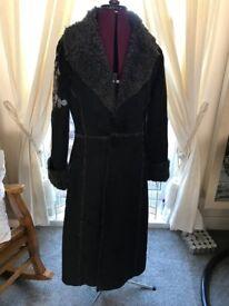 Long Black Embroidered Coat sz 12