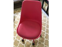 Pink metal swivel chair padded/cushioned seat