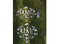 Metal home and love signs
