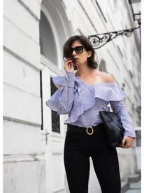 Self-Portrait Off-The-Shoulder Ruffled Striped Cotton-Poplin Top Blue Women Clothing Tops