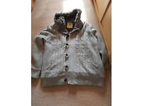 Mens fur lined cardigan jacket