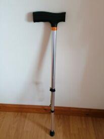 Adjustable metal walking stick