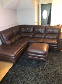 Leather corner sofa, foot stool and chair