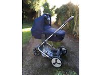 Babystyle hybrid tandem, navy, excellent condition double or single pram