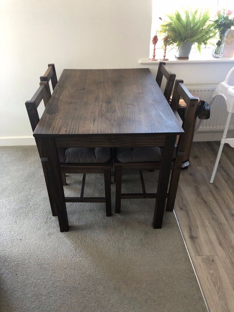 Solid Dark Wood Dining Table With 4 Chairs