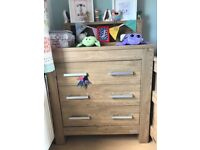 Nursery furniture set including cotbed, wardrobe and chest of drawers