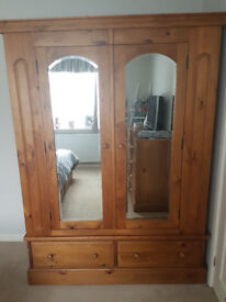 Large Solid Pine Wardrobe with mirror doors. 138 x 57 x 194 cm high