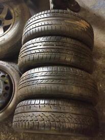 185/60/15 x4 5x110 Steel wheels + Tyres Vauxhall