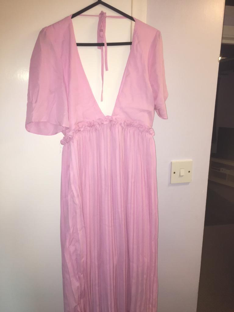 f2bdaafede73 Boohoo Night Si Pleat and Ruffle detail Midi Dress NEVER WORN SIZE 10