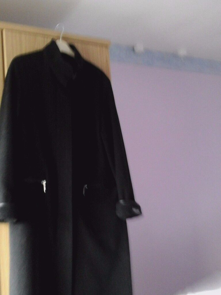 Cashmere and Wool Full Length Black Coat: Kurt Geiger Wedge heeled Boots: M&S Sandals: Dress Coat