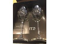Dartington crystal 'Glitz' Wine Glasses set of 2 wedding anniversary gift boxed unused