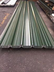 Box profile steel sheets, Juniper green polyester