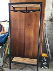 Coat stand with shoe rack and hat shelf
