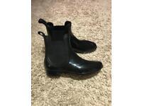 Ladies women's short ankle chelsea wellies, black, size 5/6 £5