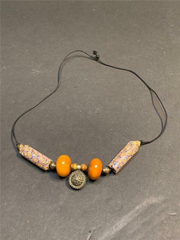 Vintage African Copal, Silver and Huge Glass Trade Bead Necklace