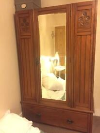 Antique Solid Oak Wardrobe With Drawer And Full Length Mirror