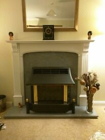 White & grey marble fireplace surround - great condition.