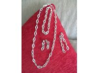 925 Silver Chain Necklace, bracelet & 2 pairs earrings ~ Boxed