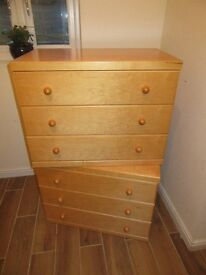 Matching pair of Solid 3 drawer chest of drawers