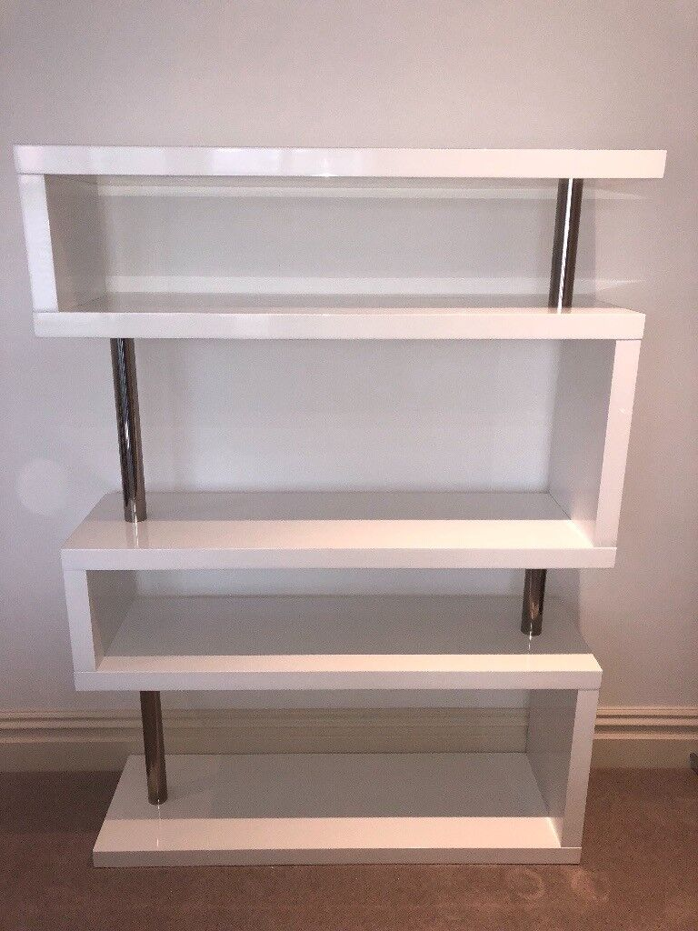 Dwell White High Gloss Bookcase