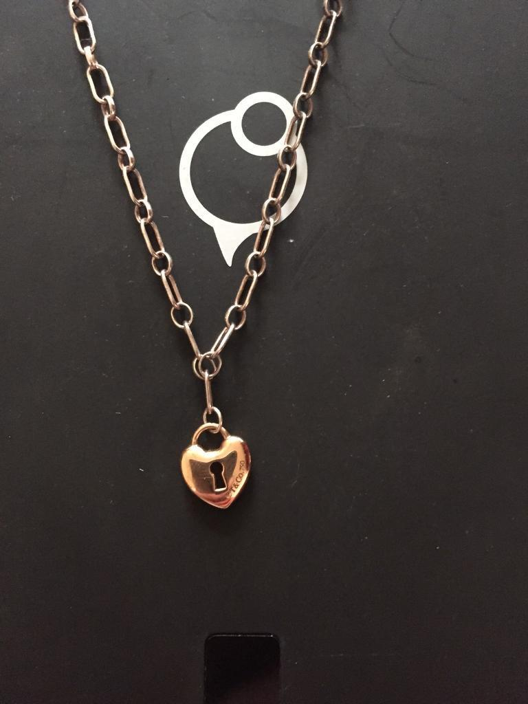 78df08797 GENUINE Tiffany & Co 18ct Gold Heart Lock Keyhole Pendant. ****RRP £450 OUR  PRICE £95****