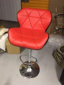 2 x stunning red adjustable bar stools