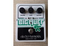 Electro-Harmonix Big Muff Pi with Tone Wicker Pedal; EHX Guitar Fuzz / Distortion Pedal