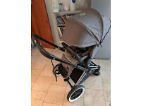 Cybex Priam Manhattan Grey Lux seat and Black Carry cot
