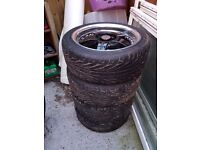 """16"""" Lenso RS5 Black and Polished 5 Spoke Alloy Wheels and Tyres (As New)."""