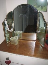Vintage mirror. 3 way tip/tilt dressing table mirror. Bevelled edge glass. 1950's.