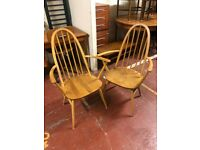 Pair of Ercol Windsor 365A Quaker Blonde Carver chairs