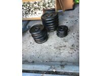 Weight bench barbell dumbbells and weights