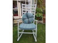 Shaker ladder back chair upholstered in moon fabric painted in farrow and ball pigeon