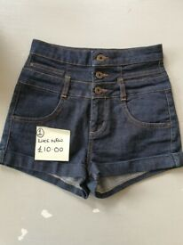 Top Shop denim shorts hot pants assorted pairs and assorted prices see labels. UK size 6/8
