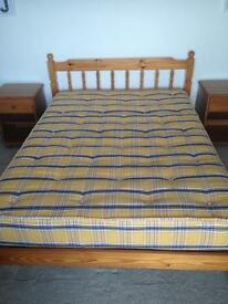 Pine double bed with mattress and 2 bedsides
