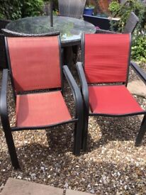 4 Garden Chairs, two slightly faded, two as new.