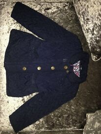 Girls blue, quilted coat, size 2-3 years