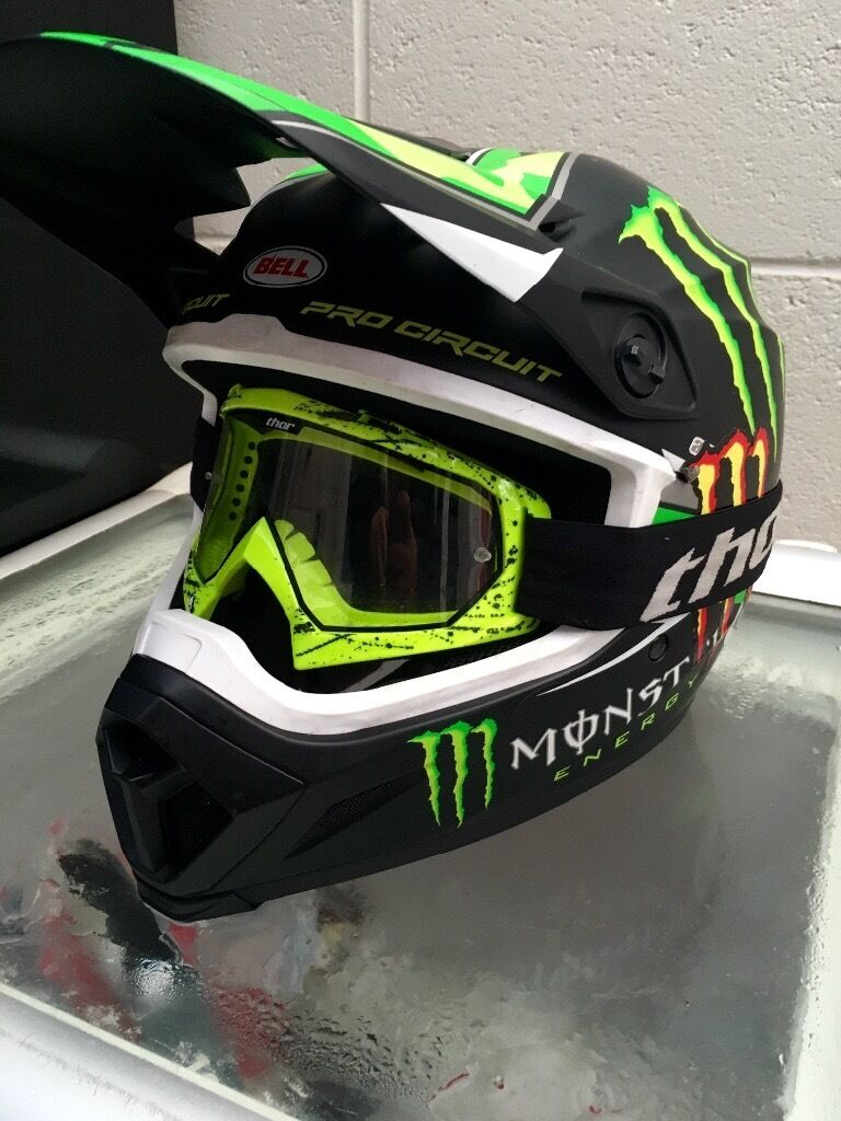 2016 Bell Mx 9 Helmet Pro Circuit Monster Anti Fog Goggles