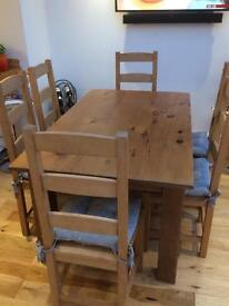 Solid pine hand made 6 place dining table with 2 drawers . Chairs Not for sale