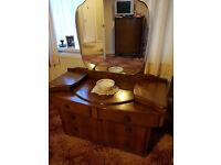 Vintage 1950s Bedroom Furniture Set; 2 Wardrobes & Dressing Table, Solid Wood Post War Utility Retro