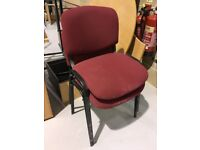 2 x Red Fabric Office Chairs